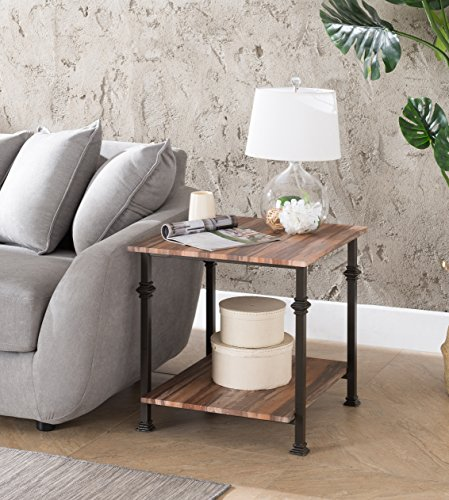 Weathered Oak Metal Frame 2-tier Industrial Style Side End Table by eHomeProducts