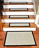 Dean Non-Slip Tape Free Pet Friendly Stair Gripper Natural Fiber Sisal Carpet Stair Treads - Island Sand/Black 29''W (15) Plus a Matching 2' x 3' Landing Mat