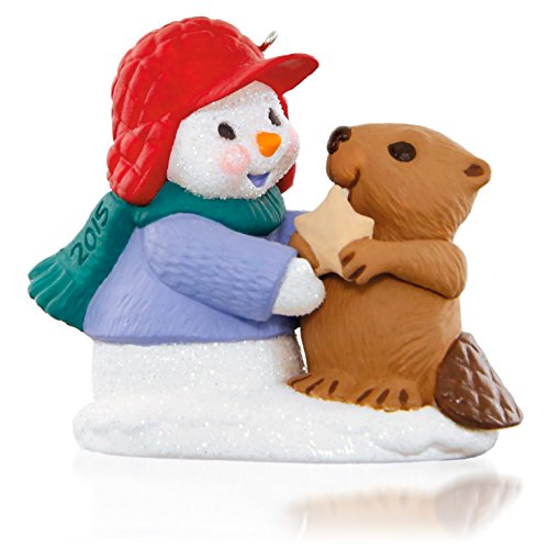 Hallmark Snow Buddies Snowman and Beaver Keepsake Ornament