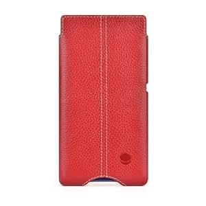 BeyzaCases Zero - Funda de piel para Sony Xperia Z1 Compact, rojo