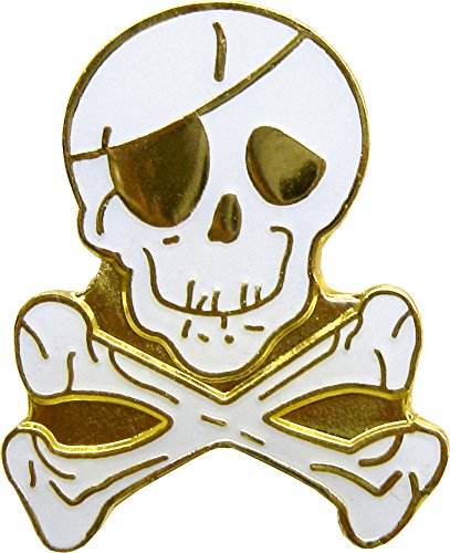 Skull & Crossbones with Eyepatch Enamel Pin (Pirate) - Crossbones Pin