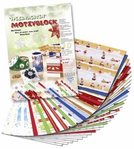 Brauns-Heitmann 82981 Motivblock, Weihnachten II, Motivkarton, Tonpapier, bedrucktes Transparentpapier, 30 Blatt