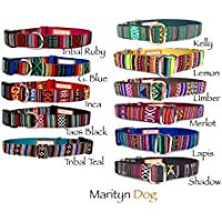 Southwestern dog collar Aztec Navajo Tribal Boho inspired pet collars with black plain plastic buckle for puppy small dogs to large dogs Handmade in USA by Marityn Dog