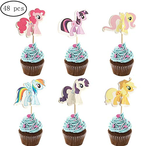 48PCS My Little Pony Cupcake Toppers for Kids Birthday Party Cake Decoration -