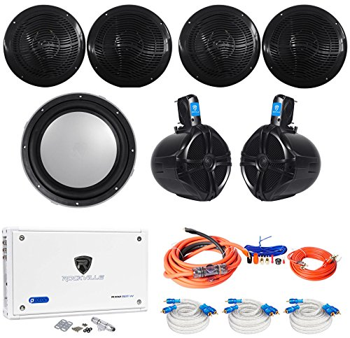 "4 Rockville RMC80B 8"" Marine Speakers+8"" Wakeboards+10"" Kick"