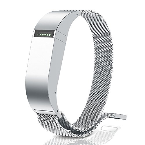ANCOOL Compatible Fibit Flex Bands Stainless Steel Magnetic Closure Milanese Sports Wristband Compatible Fitbit Flex Tracker(NOT Compatible FELX 2) - Small Silver