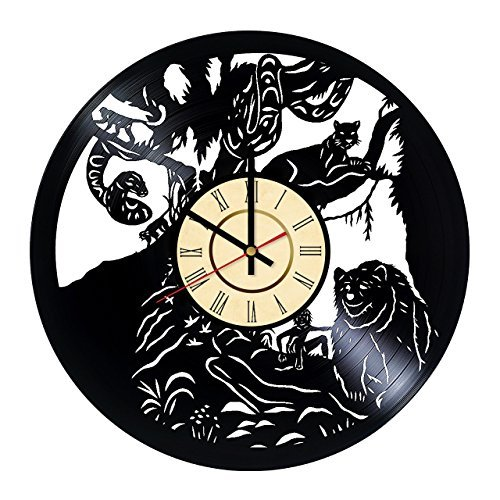 The Jungle Book Disney Cartoon HANDMADE Vinyl Record Wall Clock - Get unique living room wall decor - Gift ideas for boys and girls Movie Characters Unique Modern Art
