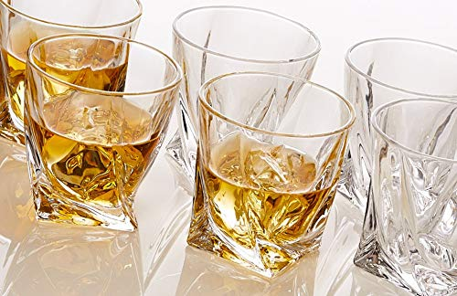Whiskey Glasses Set of 6 Lead Free Crystal Old Fashioned Rock Glass Scotch Bourbon and Spirits 10 Ounce Liqueur Tumbler by Bezrat (Image #5)