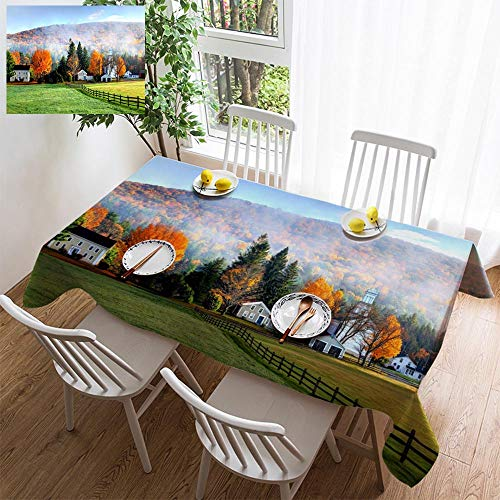 HOOMORE Simple Color Cotton Linen Tablecloth,Washable, Autumn Mist in The Village of Tyringham in The Berkshires Decorating Restaurant - Kitchen School Coffee Shop Rectangular 86×54in