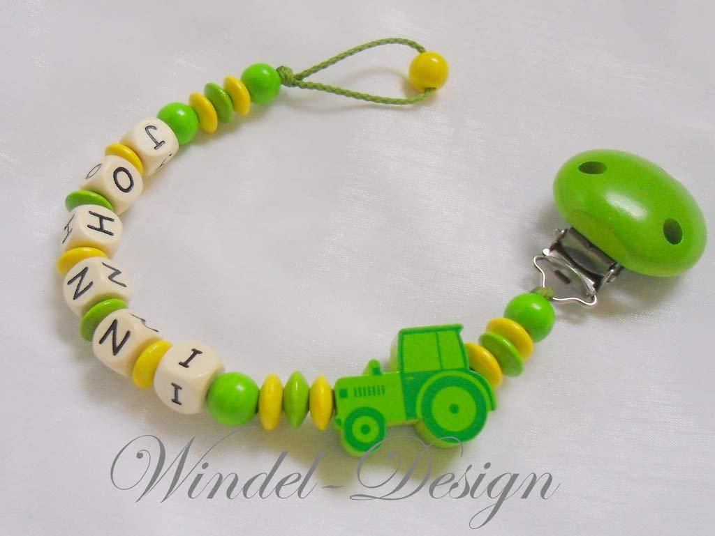 Schnullerkette mit Namen ♥ Traktor ♥ Junge ♥ Baby Geschenk Geburt ♥ blau weiß