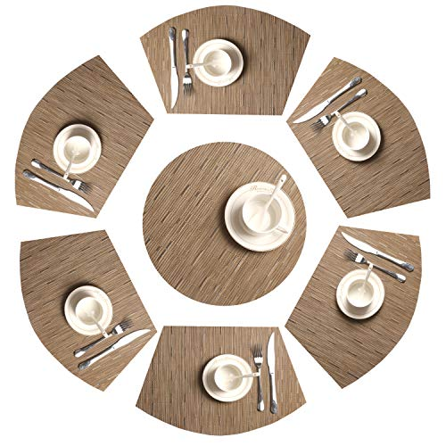 (SHACOS Round Table Placemats Set of 7 Woven Vinyl Wedge Placemats with Centerpiece Round Mat Heat Resistant Round Table Mats (7, Bamboo Tan))