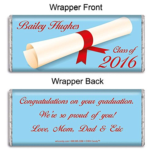 Personalized HERSHEY'S Chocolate Bar Wrappers - Graduation Favors - Diploma In The Air (25 Wrappers) - Graduation Candy Bar