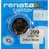 2PC Renata 399 SR927W 0% Mercury Silver Oxide 1.55V Coin Cell Batteries - Swiss Made