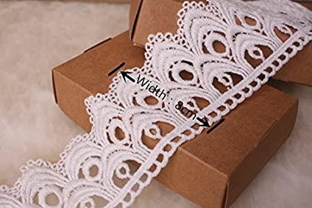 8CM Width Europe Wave Pattern Inelastic Embroidery Trims,Curtain Tablecloth Slipcover Bridal DIY Clothing//Accessories. White 4 Yards in one Package
