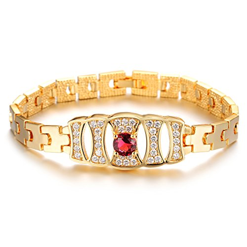 Girl Era Round Ruby Plated,18k Gold Chain Bracelets Best Gift for Lover (Disco Era Costumes)