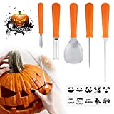 Halloween Pumpkin Carving Kit Tools- Heavy Duty Stainless Steel Pumpkin Knife with 10 Carving Stencils DIY Halloween Jack-O-Lantern for Halloween Decorations (Yellow)