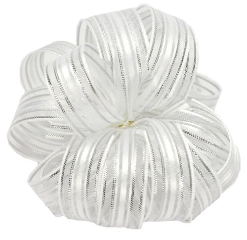 (Offray Veronica Satin Edge Sheer Craft Ribbon, 5/8-Inch Wide by 25-Yard Spool, White/Silver)