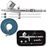 Master Airbrush Master Performance G233 Pro Set with 3 Nozzle Sets (0.2, 0.3 & 0.5mm Needles, Fluid Tips and Air Caps) and Air Hose - Dual-Action Gravity Feed Airbrush with 1/3 oz Cup, Cutaway Handle
