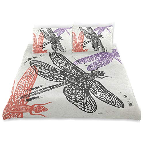 SUABO 3 Pieces Duvet Cover Twin Bedding Set Soft Doodle Dragonfly Quilt Bed Covers for Kids