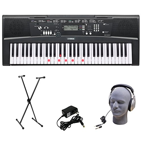 Yamaha EZ-220 61-Lighted Key Premium Portable Keyboard Package with Headphones Stand and Power Supply