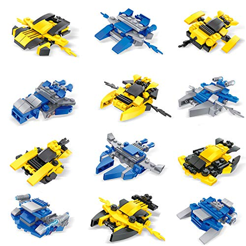 FUN LITTLE TOYS Mini Building Blocks Spaceship for Goodie Bags, Birthday Party Favors, Kids Prizes, 12 Packs 36 Models