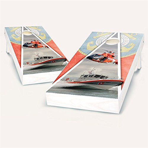 Floating Pong US Coast Guard Cornhole Set, 2x4 ACA, Wood, Handmade, Portable