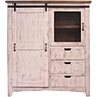 Distressed White Sturdy Solid Wood Anton Sliding Barn Door Gentlemans Chest Armoire. Arrives Fully Assembled And Features Upgraded Dovetail Drawers With Ball Bearing Glides