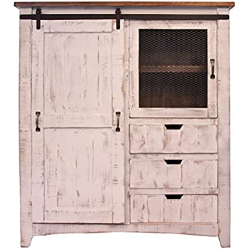 Distressed White Sturdy Solid Wood Anton Sliding Barn Door Gentlemans Chest  Armoire. Arrives Fully Assembled