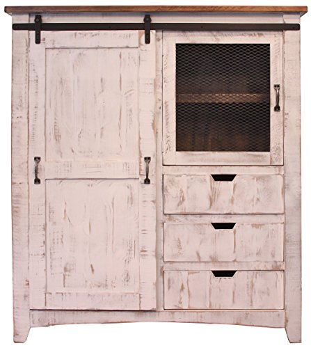 RR Distressed White Sturdy Solid Wood Anton Sliding Barn Door Gentlemans Chest Armoire. Arrives Fully Assembled And Features Upgraded Dovetail Drawers With Ball Bearing Glides ()