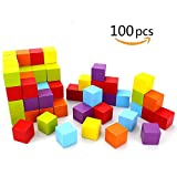 """LIKIQ Wooden Cubes -1"""" Baby Wood Square Blocks with Storage Bag-For Puzzle Making, Building, And Learning Math -100 Pieces by (6-Colors)"""