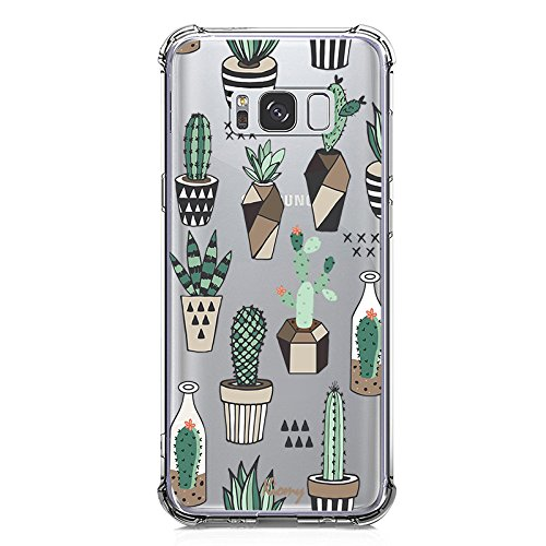 Galaxy S8 Case, KIOMY Crystal Clear Case with Design Cactus Floral Pattern Print Bumper Protective Shockproof Case for Samsung Galaxy S8 Flexible Soft Gel TPU Silicone Flowers Transparent Cover