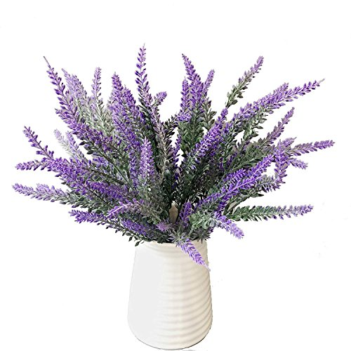 Hecaty 4pcs Artificial Flocked Lavender Bouquet, DIY Bridle Flowers Arrangements Home Kitchen Garden Office Wedding Decor Floral, Fake Outdoor Plants