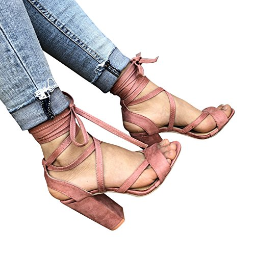 Juleya Women High Heel Strappy Sandals - 10cm Summer Ladies Lace-up Shoes Open Toe Sandals Block Chunky Heels Shoes 35-43 Pink