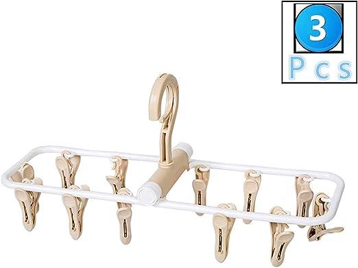 fuluomei FLM Tendedero Colgador Plegables Set de 3 Perchas con 12 Pinzas para Tender la Ropa Tendedero de Calcetines,Guantes,Ropa Interior,Toallas,Beige