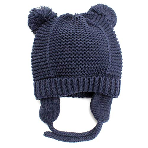 Baby Warm Beanie Hat with Earflaps-Infant Toddler Boys Girls Cute Winter Hat Kids Knit Hat with Soft Fleece Lining-Navy M