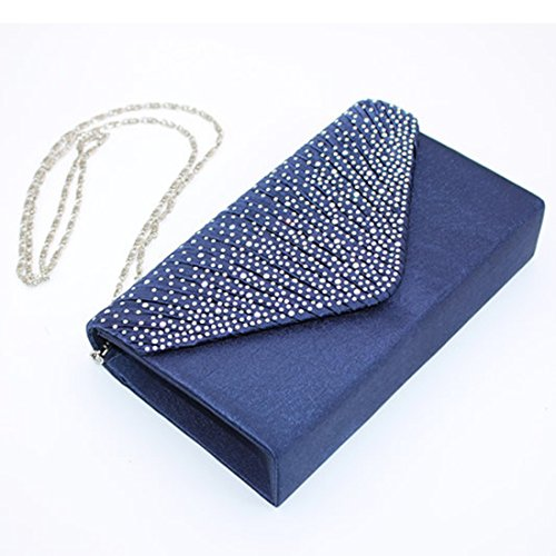 Envelope Clutch Women Wedding Pleated Bridal Gold Rhinestone Frosted Evening for Bags Clutch Purse Bag Party Shoulder Handbag qwpPtPg