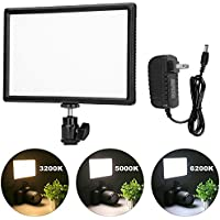 Crazefoto Ultra Thin Dimmable LED Video Photo Light Panel with Hot Shoe Mount,for Canon Nikon Sony DSLR Camera Camcorder, Dimmable Color Temperature 3200K-6200K and Brightness 10%-100%