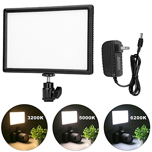 Crazefoto Ultra Thin Dimmable LED Video Photo Light Panel with Hot Shoe Mount, Compatible with Canon Nikon Sony DSLR Camera Camcorder, Dimmable Color Temperature 3200K-6200K and Brightness 10%-100% by Crazefoto