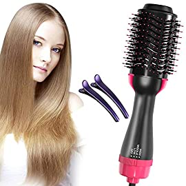 One Step Hair Dryer & Volumizer,Hot Air Brush, Blow Dryer Brush, Ceramic Electric Blow Dryer Styler Straightener, 3 in1 Styling Oval Comb, Negative Ion Hair Straightener Brush with 2pcs Hair Clips - 51wHIBkr8aL - Blow Dryer Brush One Step Hair Dryer & Volumizer Hot Air Brush Ceramic Electric Blow Dryer Styler 3 in1 Styling Negative Ion Hair Straightener Brush with 2pcs Hair Clips (rose)