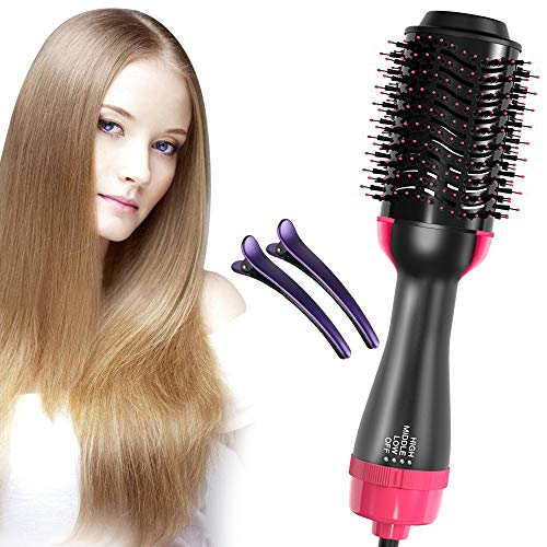 One Step Hair Dryer & Volumizer,Hot Air Brush, Blow Dryer Brush, Ceramic Electric Blow Dryer Styler Straightener, 3 in1 Styling Oval Comb, Negative Ion Hair Straightener Brush with 2pcs Hair Clips
