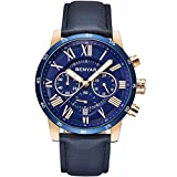 BENYAR Waterproof Chronograph Watches Business Casual Roman Numerals Leather Band Wrist Watch for Men (Blue)