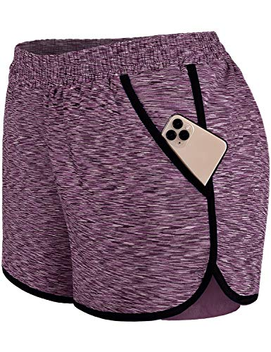 Blevonh Womens 2 in1 Running Athletic Workout Yoga Shorts with Pockets S-XXXL