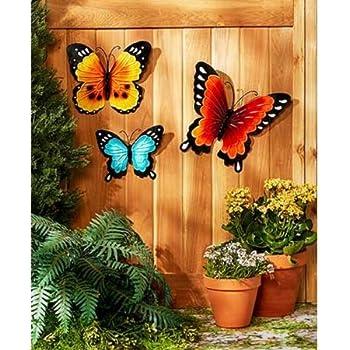 Merveilleux Wall Art Indoor / Outdoor Metal Wall Decor Butterfly Set Of 3