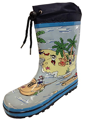 Little Kids Unisex Youth Boat and Beach Rain Boot Snow Boot w/Tie and Lining - Boys and Girls (1) Blue