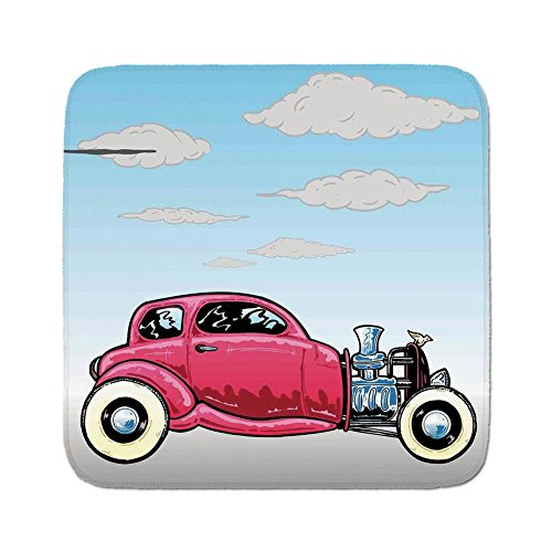 Cozy Seat Protector Pads Cushion Area Rug,Cars,Old Classic American Hot Rod Car with Large Engines Modified for Linear Speed Graphic,Blue Pink,Easy to Use on Any Surface