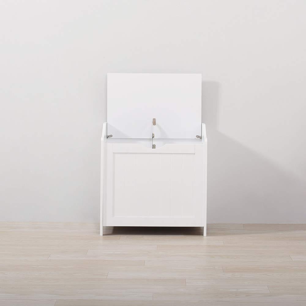 PanaCasa Caj/ón con Tapa Armario Madera Almacenamiento Color Blanco para Ropa Sucia