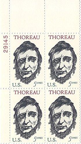 1967 Thoreau 5 Cent US Postage Stamp Plate Block MNH Scott -