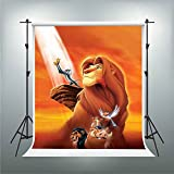 5x7ft Cartoon Backdrop Lion King Simba Sunset Photography Background for Children Birthday Party Baby Shower You Tube Background Photo Studio Booth Shooting Props LXGE215