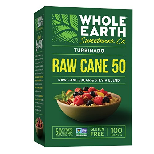 Whole Sugar Cane (WHOLE EARTH SWEETENER CO. Turbinado Raw Cane 50 Packets, Organic Stevia Extract & Raw Sugar Blend, Stevia Packets, Sugar Substitute, Natural Sweetener, 100 Count (Pack of 12))