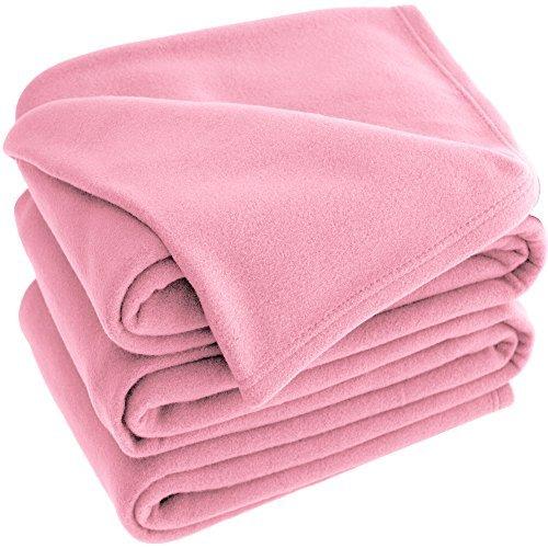 Bare Home Polar Fleece Cozy Bed Blanket - Hypoallergenic Premium Poly-Fiber Yarns, Thermal, Lightweight Blanket (Twin XL/Twin, Light Pink)